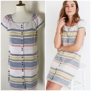 Madewell button front striped dress